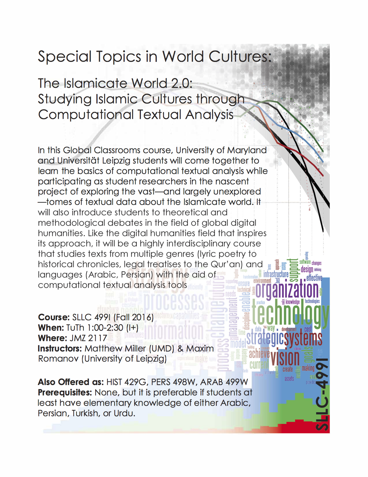 The Islamicate World 2.0: Studying Islamic Cultures through Computational Textual Analysis, taught by Matthew Thomas Miller & Maxim Romanov